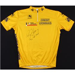 "Lance Armstrong Signed Credit Lyonnais Cycling Jersey Inscribed ""7x TDF Champ"" (Schwartz COA)"