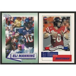 Lot of (2) Eli Manning Football Cards with 2002 Rookie Review #1  2004 OMR #NNO