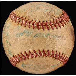 1958 MLB All Stars OAL Baseball Signed by (16) with Ted Williams, Mickey Mantle, Nellie Fox, Whitey