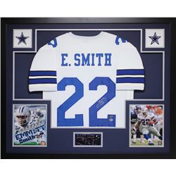 Emmitt Smith Signed Cowboys 35x43 Custom Framed Jersey (Beckett COA)