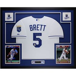 George Brett Signed Royals 35x43 Custom Framed Jersey (Fanatics)