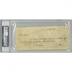 John Quincy Adams Signed 3x7 Handwritten Letter (PSA Encapsulated)