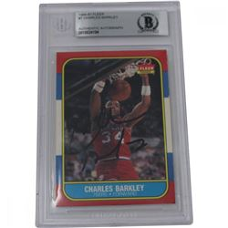 Charles Barkley Signed 1986-87 Fleer #7 RC (BGS Encapsulated)