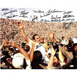 1972 Miami Dolphins 16x20 Photo Team-Signed by (19) with Don Shula, Larry Csonka, Bob Griese, Larry