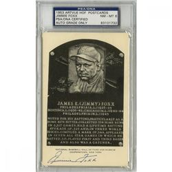 Jimmie Foxx Signed Gold Hall Of Fame Postcard (PSA Encapsulated - Autograph Graded 8)