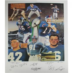 New York Giants Legends 20x28 Lithograph Team-Signed by (8) with Y.A. Tittle, Lawrence Taylor, Phil