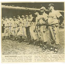 Hall of Famers Signed 8x8 Magazine Photo Signed by (9) with Joe DiMaggio, Bob Feller, Red Ruffing (J