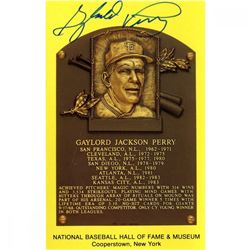 Gaylord Perry Signed Gold Hall of Fame Postcard (JSA Hologram)