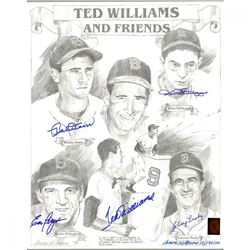 "Red Sox ""Ted Williams  Friends"" 16x20 Lithograph Team-Signed by (5) with Dominic DiMaggio, Bobby Doe"