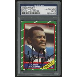 Harry Carson Signed 1986 Topps #152 AP (PSA Encapsulated)