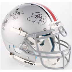 Eddie George, Troy Smith  Archie Griffin Signed Ohio State Buckeyes Full-Size Authentic On-Field Hel