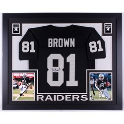 Tim Brown Signed Raiders 35x43 Custom Framed Jersey (Beckett COA)
