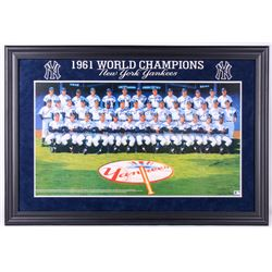 1961 New York Yankees 30x44 Lithograph Signed by (34) with Mickey Mantle, Yogi Berra, Whitey Ford (J