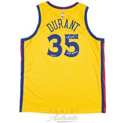 """Kevin Durant Signed LE The City Edition Jersey Inscribed """"Dub Nation"""" (Panini COA)"""
