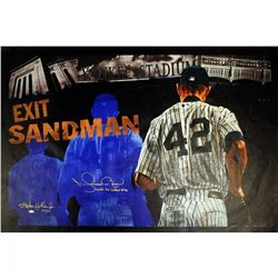 "Mariano Rivera Signed Yankees LE 25x44 Giclee on Canvas Inscribed ""Last To Wear #42"" (Steiner CO"