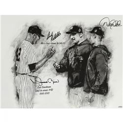 Derek Jeter, Mariano Rivera  Andy Pettitte Signed Yankees LE 26x36 Hintz Studios Fine Art Lithograph