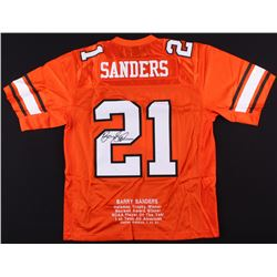 Barry Sanders Signed Oklahoma State Cowboys 1988 SeaWorld Holiday Bowl Career Stats Jersey (JSA COA)
