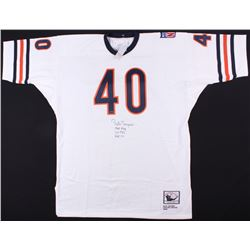 "Gale Sayers Signed Bears Throwback Jersey Inscribed ""1965 ""ROY"" ""22 TDS"" ""HOF 77"" (TriStar Hologram)"