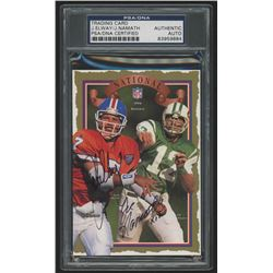 "John Elway  Joe Namath Signed 1996 Born Leaders Collectors Card Inscribed ""x12"" (PSA Encapsulated)"