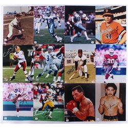 Lof of (12) Signed 8x10 Assorted Photos with Bob Feller, Ed Jones, Drew Pearson, Darrell Evans, Colt