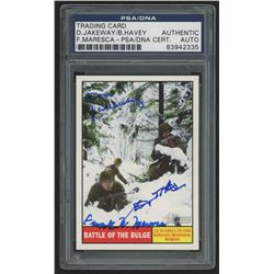 Don Jakeway, Birney Havey,  Frank Maresca Signed 2009 Topps American Heritage Heroes #120 Battle of