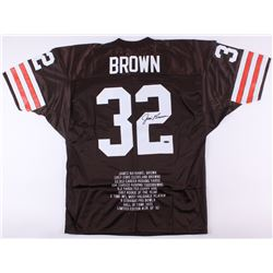 James Brown Signed Browns Career Highlight Stat Jersey (TriStar Hologram)