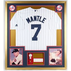 Mickey Mantle Signed Yankees 34x38 Custom Framed Cut Display (PSA LOA)