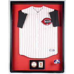 Pete Rose Signed Reds 31.5x41.5x3.5 Custom Framed Jersey  Baseball Display (JSA ALOA)