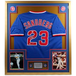 "Ryne Sandberg Signed Cubs 34x38 Custom Framed Jersey with (2) Cubs W.S. Rings Inscribed ""HOF 05"" (JS"