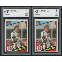 Lot of (2) BCCG Graded 8 1984 Topps #63 John Elway RC Football Cards