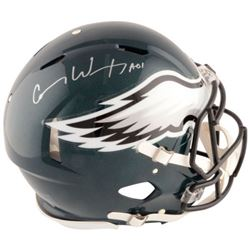 "Carson Wentz Signed Eagles Full-Size Authentic On-Field Speed Helmet Inscribed ""AO1"" (Fanatics Holog"