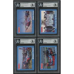 Lot of (4) Richard Petty Signed 1991 Traks Racing Cards with (1) #13 Richard Petty's Car, #36 Richar