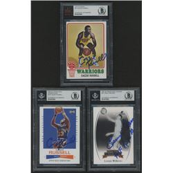 Lot of (3) Signed Basketball Cards with (1) 2007-08 Press Pass Legends #47 Lenny Wilkens (1) 2002-03