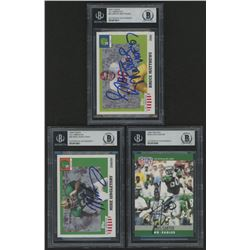 Lot of (3) Signed Football Cards with (1) 1990 Pro Set #246 Cris Carter (1) 2005 Topps All American