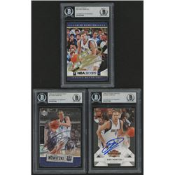 Lot of (3) Dirk Nowitzki Signed Basketball Cards with (1) 2009-10 Panini Threads #5 (1) 2005-06 Uppe