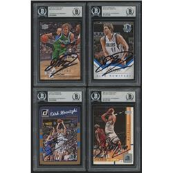 Lot of (4) Dirk Nowitzki Signed Basketball Cards with (1) 2016-17 Donruss #77 (1) 2001-02 Upper Deck
