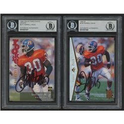 Lot of (2) Terrell Davis Signed 1995 Rookie Football Cards with (1) SP #130 Terrell Davis  (1) Colle