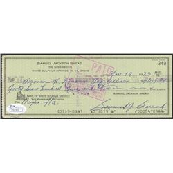 Sam Snead Signed Personal Bank Check (JSA COA)