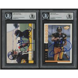 Lot of (2) Hines Ward Signed 1998 Rookie Football Cards with (1) Score #252  (1) UD Choice #400 (Bec