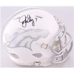 John Elway Signed Broncos Custom Matte White ICE Mini Speed Helmet (JSA COA  Elway Hologram)