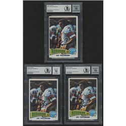 Lot of (3) Joe Theismann Signed 1975 Topps #416 (Beckett Encapsulated)