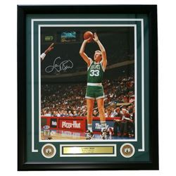 Larry Bird Signed Celtics 22x27 Custom Framed Photo Display (Beckett COA  Bird Hologram)