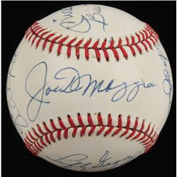 Yankees HOFers OAL Baseball Signed by (12) with Mickey Mantle, Joe DiMaggio, Enos Slaughter, Bill Di