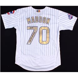 """Joe Maddon Signed Cubs Jersey With 2016 World Series Patch Inscribed """"We Did Not Suck"""" (JSA Hologram"""