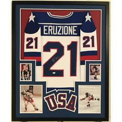 Mike Eruzione Signed Team USA 34x42 Custom Framed Jersey Display (JSA COA)
