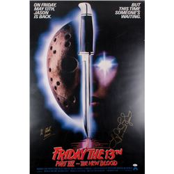 "Kane Hodder  Lar Park Lincoln Signed ""Friday The 13th Part VII - The New Blood"" 27x40 Movie Poster I"