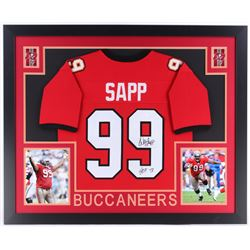 "Warren Sapp Signed Buccaneers 35x43 Custom Framed Jersey Inscribed ""HOF '13"" (JSA COA)"