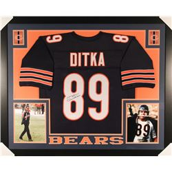 Mike Ditka Signed Bears 35x43 Custom Framed Jersey (JSA COA)