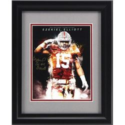 Ezekiel Elliott Signed Ohio State Buckeyes 15x17 Custom Framed Photo Display (JSA Hologram)