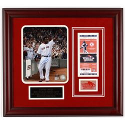 David Ortiz Signed Red Sox 19x21 2013 World Series Custom Framed Photo Display with Replica Ticket (